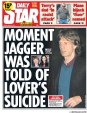 Daily Star (UK) Newspaper Front Page for 18 March 2014