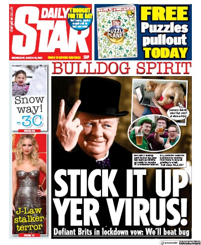 Daily Star Newspaper Front Page (UK) for 18 March 2020