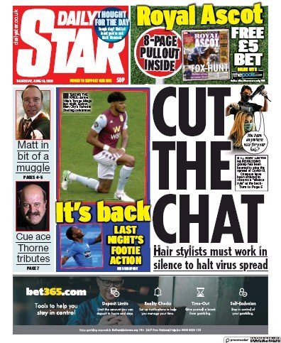 Daily Star Newspaper Front Page (UK) for 18 June 2020