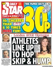 Daily Star Newspaper Front Page (UK) for 18 July 2012