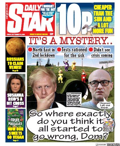 Daily Star Newspaper Front Page (UK) for 18 September 2020