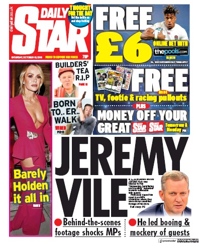 Daily Star Newspaper Front Page (UK) for 19 October 2019