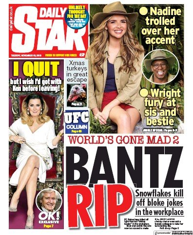 Daily Star Newspaper Front Page (UK) for 19 November 2019