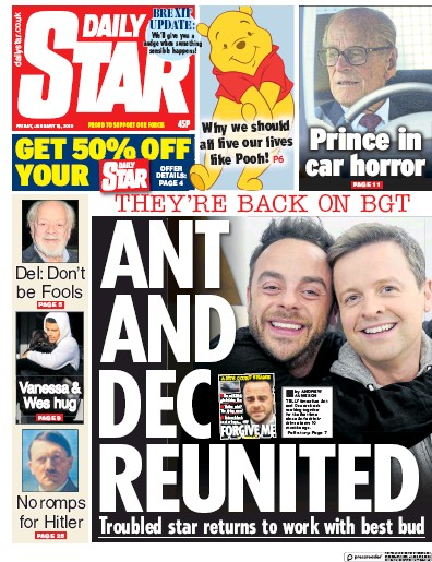 Daily Star Newspaper Front Page (UK) for 19 January 2019