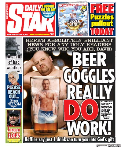 Daily Star Newspaper Front Page (UK) for 19 February 2020
