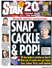 Daily Star (UK) Newspaper Front Page for 19 April 2017
