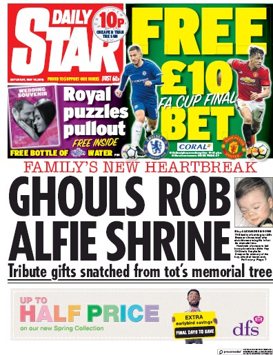 Daily Star Newspaper Front Page (UK) for 19 May 2018