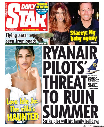 Daily Star Newspaper Front Page (UK) for 19 July 2019