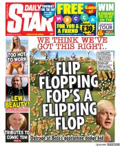 Daily Star () Newspaper Front Page for 19 July 2021