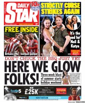 Daily Star (UK) Newspaper Front Page for 19 August 2019