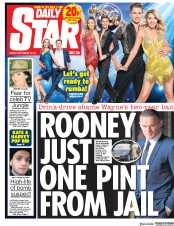 Daily Star (UK) Newspaper Front Page for 19 September 2017