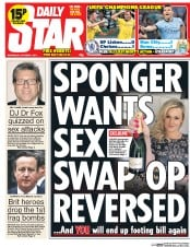 Daily Star (UK) Newspaper Front Page for 1 October 2014