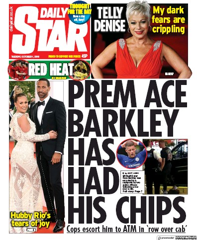 Daily Star Newspaper Front Page (UK) for 1 October 2019