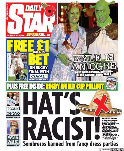 Daily Star Newspaper Front Page (UK) for 1 November 2019