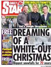 Daily Star (UK) Newspaper Front Page for 1 December 2018