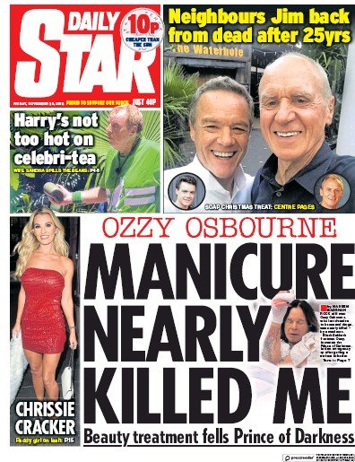 Daily Star Newspaper Front Page (UK) for 1 December 2018