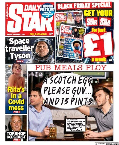 Daily Star Newspaper Front Page (UK) for 1 December 2020