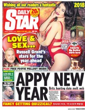Daily Star (UK) Newspaper Front Page for 1 January 2018