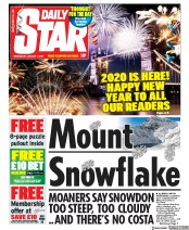 Daily Star (UK) Newspaper Front Page for 1 January 2020