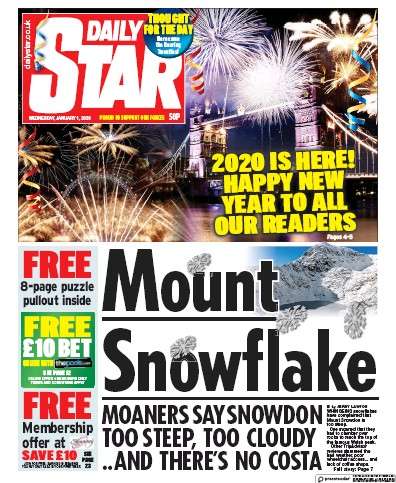 Daily Star Newspaper Front Page (UK) for 1 January 2020