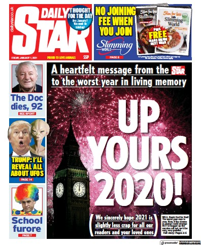 Daily Star (UK) Front Page for 1 January 2021 | Paperboy Online Newspapers