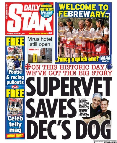 Daily Star Newspaper Front Page (UK) for 1 February 2020