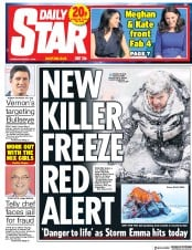 Daily Star (UK) Newspaper Front Page for 1 March 2018