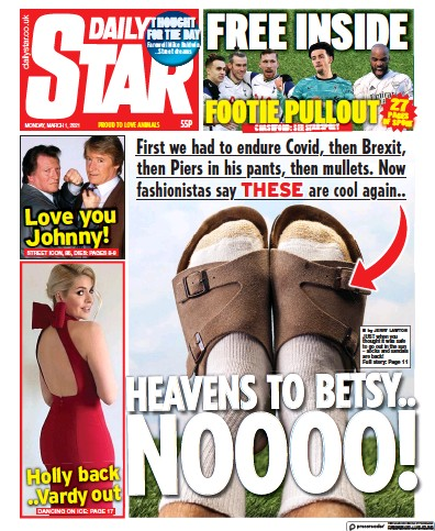 Daily Star Newspaper Front Page (UK) for 1 March 2021
