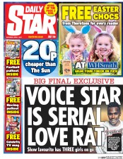 Daily Star (UK) Newspaper Front Page for 1 April 2017