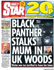 Daily Star (UK) Newspaper Front Page for 1 June 2017