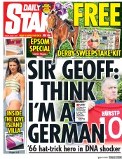 Daily Star (UK) Newspaper Front Page for 1 June 2018
