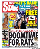 Daily Star (UK) Newspaper Front Page for 1 June 2020