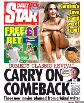 Daily Star (UK) Newspaper Front Page for 1 July 2019