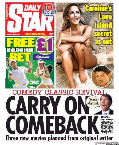 Daily Star Newspaper Front Page (UK) for 1 July 2019