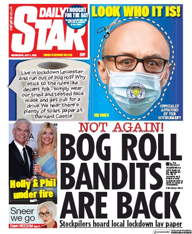 Daily Star Newspaper Front Page (UK) for 1 July 2020