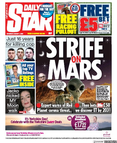 Daily Star Newspaper Front Page (UK) for 1 August 2020