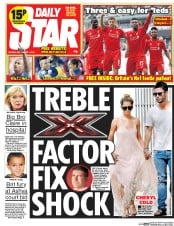 Daily Star (UK) Newspaper Front Page for 1 September 2014