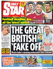 Daily Star (UK) Newspaper Front Page for 1 September 2017