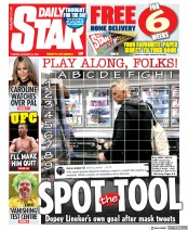 Daily Star (UK) Newspaper Front Page for 20 October 2020