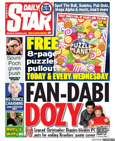 Daily Star Newspaper Front Page (UK) for 20 November 2019