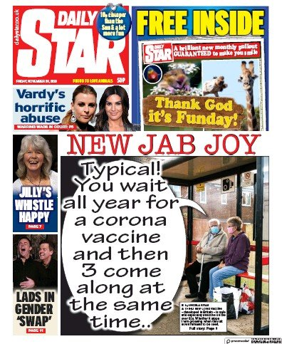 Daily Star Newspaper Front Page (UK) for 20 November 2020