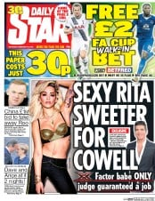 Daily Star (UK) Newspaper Front Page for 20 February 2016
