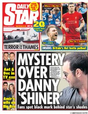 Daily Star (UK) Newspaper Front Page for 20 March 2017