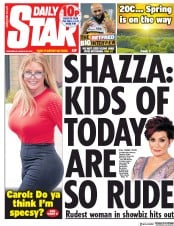 Daily Star (UK) Newspaper Front Page for 20 March 2019
