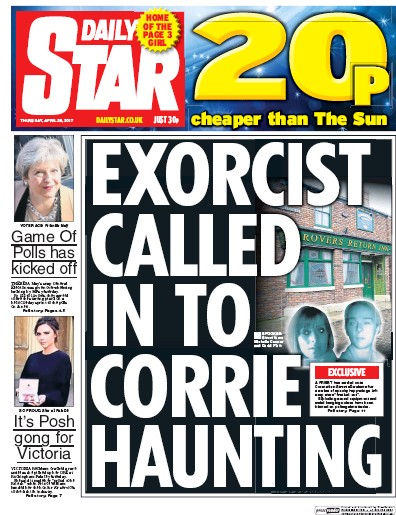 Daily Star Newspaper Front Page (UK) for 20 April 2017