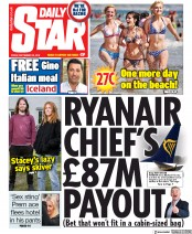 Daily Star (UK) Newspaper Front Page for 20 September 2019