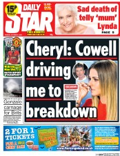 Daily Star (UK) Newspaper Front Page for 21 October 2014