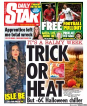 Daily Star (UK) Newspaper Front Page for 21 October 2019