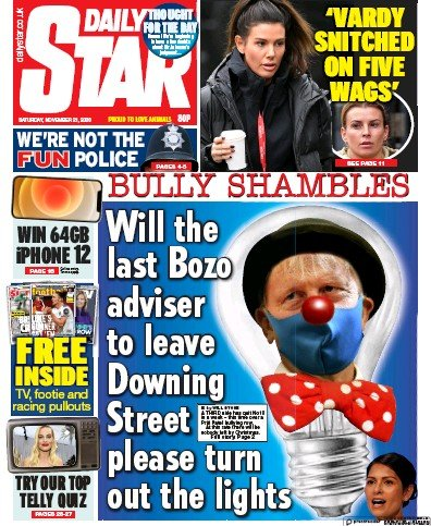 Daily Star Newspaper Front Page (UK) for 21 November 2020