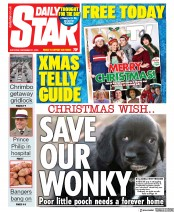 Daily Star (UK) Newspaper Front Page for 21 December 2019